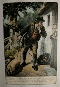 Vintage 1905 Ireland Farm Scene to London Picture Postcard Cover