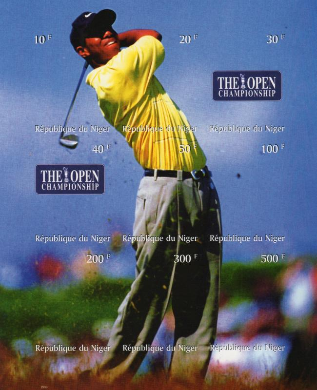 Niger 1999 TIGER WOODS GOLF THE OPEN CHAMPIONSHIP Sheetlet Imperforated MNH