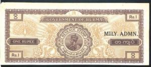 BURMA MILITARY ADMINISTRATION OVERPRINT ON KG V 1 Rs REVENUE STAMP PAPER - RARE