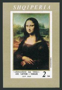 Albania 1223 sheet,MNH.Michel Bl.36. Leonardo da Vinci,1969.Mona Lisa.