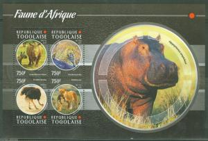 TOGO 2015  FAUNA OF AFRICA RHINO, OSTEREICH, HIPPO & LION SHT MINT NEVER HINGED