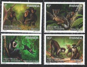 Rwanda. 1988. 1389-92. Monkeys, fauna. MNH.