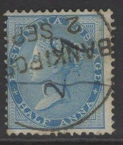 INDIA SG54 1865 ½a BLUE USED