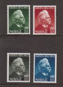 Norway  #255-258  MNH  1943   Grieg