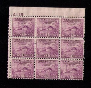 US Sc 727 MNH P# Block Of (9) Nine F-VFHinged On 4 Only.Read Notes..