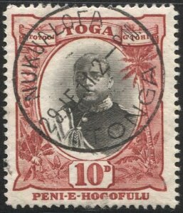 TONGA 1897 Sc 48, Used  VF 10d George II, SOTN  NUKUALOFA postmark cancel