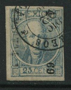 Mexico 1868 25 centavos used