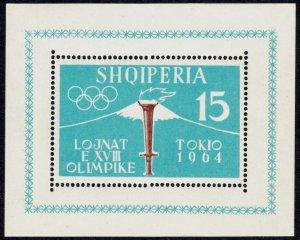 Albania 620a S/S, MNH. Pre-Olympics, Tokio. Mt.Fuji and Torch, 1962