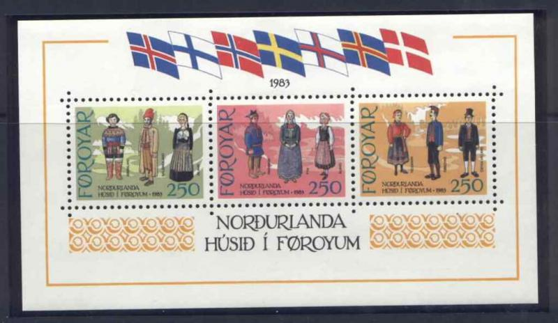 Faroe Islands 101 MNH Traditional Costumes, Flags