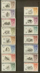 Falkland Islands, Scott #128-142, Various Birds, MH