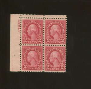 United States Postage Stamp #583 MNH F/VF Plate No. 17857 Block of 4