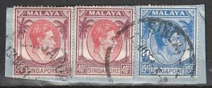 Singapore Perf 18 Used strip of 2 & single