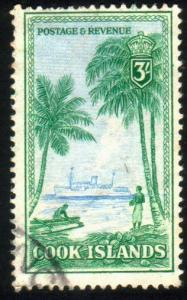 COOK IS 1949 3/- definitive top value fine used............................50141