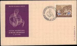 Yugoslavia, Music, Worldwide First Day Cover