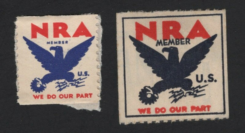 United States MINT 2 NATIONAL RECOVERY ACT NEW DEAL ERA STAMPS -  BARNEYS