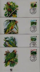 Cayman isl. 668-71 FDC WWF-93/Parrots