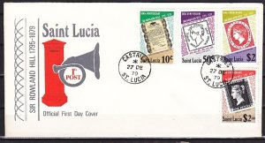 St. Lucia, Scott cat. 478-481. Roland Hill Anniversary. First day cover. ^