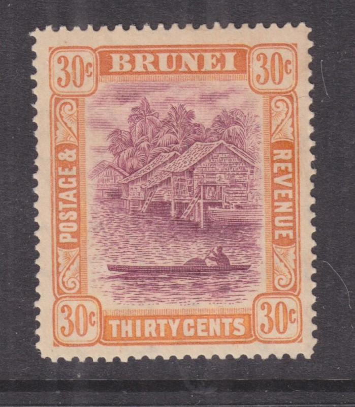 BRUNEI, 1931 Script CA, 30c. Purple & Orange Yellow, lhm.