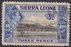 Sierra Leone 1938 - 44 KGV1  3d Black & Ultramarine SG 192 ( G1497 )