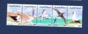 NORFOLK ISLAND - 565 strip of five  - VF MNH - birds - 1994