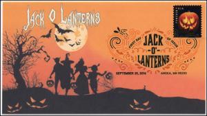 2016,  Jack O Lanterns, Halloween, Pumpkins, Digital Color Postmark, 16-291
