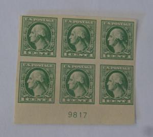 #531 1 cent Washington plate block