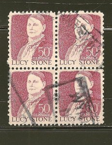 USA 1293 Lucy Stone Block of 4 Used