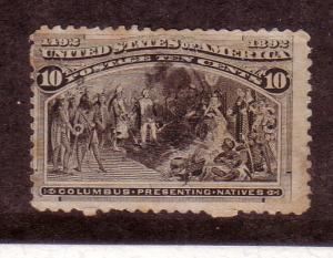 US #237 10c Columbian Exposition, black brown CAT. $9.00