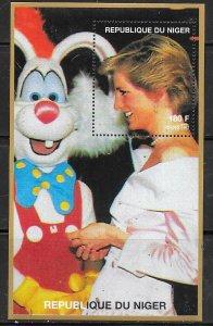 Niger MNH S/S Princess Diana & Roger Rabbit 1997