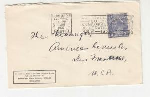 AUSTRALIA,1937 Bank NSW cover, KGV 3d. Blue, BRISBANE,COUNTRY BOX machine to USA