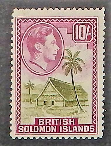 Solomon Islands 79. 1942 10/- Red lilac and olive KGVI