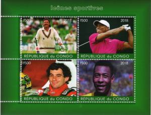 Congo 2018 Botham (Cricket)-Woods(Golf)-Senna(Formula1)Pele(Football) Sheetlet