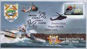 2015, USCG , Pictorial Postmark, 225th Anniv, Umpqua OR, 15-220