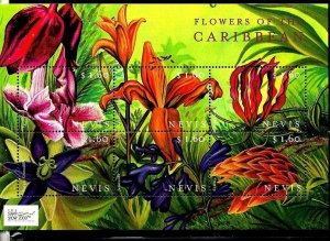 #8176 CARIBE NEVIS 2000 FLORA FLOWERS MINISHEET YV 1449-54 MNH