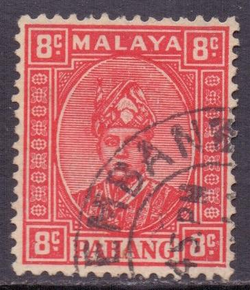 Malaya Pahang Scott 34a - SG36, 1935 Sultan 8c Red used