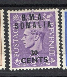 BMA Somalia 1950s Early Issue Fine Mint Hinged 30c. Surcharged Optd NW-14622