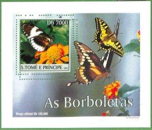 A0549 - S. TOME' & PRINCIPE -  ERROR  MISSPERF SHEET -  Butterflies  2004
