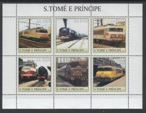 Sao Tome and Principe 1559 Trains Souvenir Sheet MNH VF