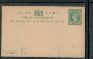 MALAYA STRAITS SETTLEMENTS COVER (P1909BB) QV 1C REPLY  PSC UNUSED   P7