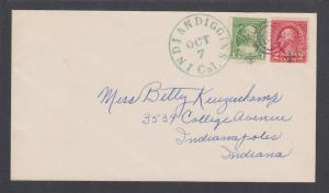 US Sc 554, 705 PERFINS on c. 1934 cover, green INDIAN DIGGINS, CAL cancel, DPO