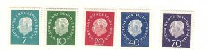 Germany (Berlin), 9N165-69, Pres.Theodor Heuss, Singles, MNH