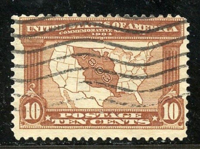 U.S. Scott 327 Used 10-Cent Louisiana Purchase Issue Picturing Map