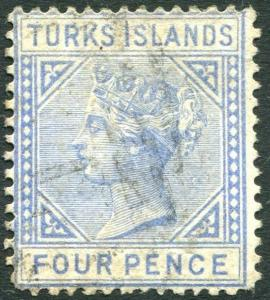 TURKS ISLANDS-1881 4d Ultramarine Sg 50 GOOD USED V24020