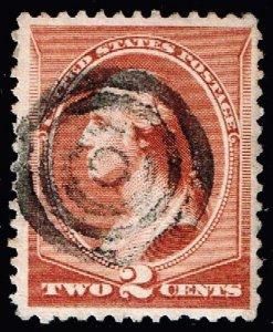 US STAMP #210 – 1883 2c Washington, red brown used