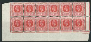LEEWARD ISLANDS SG62 1929 1d BRIGHT SCARLET BLOCK OF 12 MNH