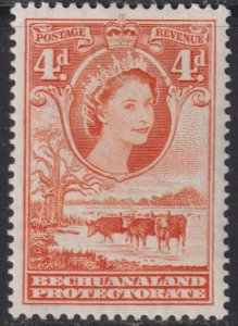 1955 - 1958 British Bechuanaland Protectorate QE 4 pence MLH Sc# 158 CV $13.00