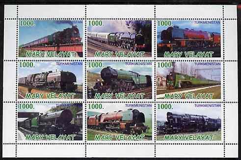 Turkmenistan (Mary Velayat) 1999 ? Steam Locos perf sheet...