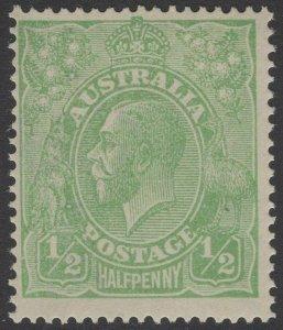 AUSTRALIA SG20c 1916 ½d YELLOW GREEN MTD MINT