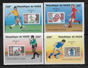 NIGER, C367-C370, MNH, MEXICO '86 FOOTBALL
