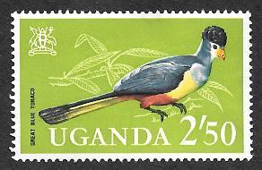Uganda 107 mh 2013 SCV $5.50  Great Blue Turaco